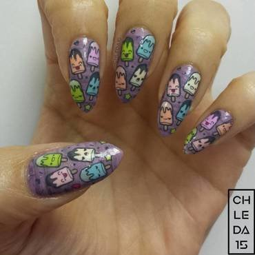 Cream Pop Cuties nail art by chleda15