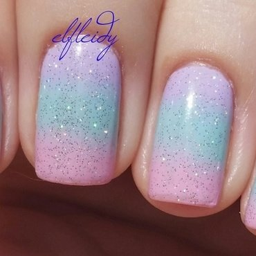 Unicorn gradient nail art by Jenette Maitland-Tomblin
