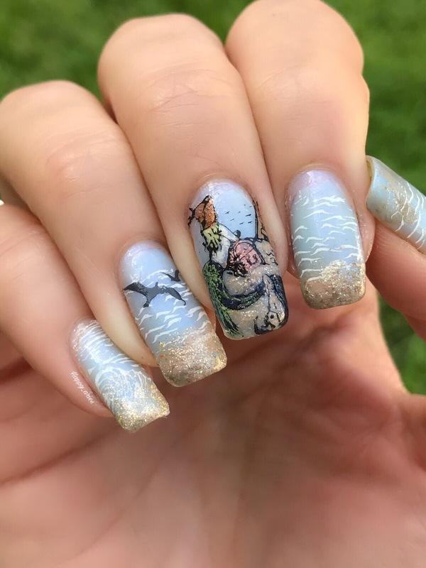 Mermaid on the beach  nail art by Happy_aries