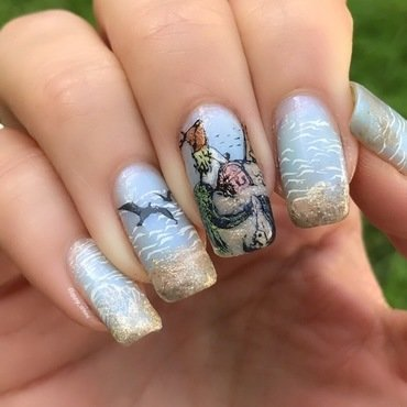 Mermaid on the beach  nail art by Happy_aries