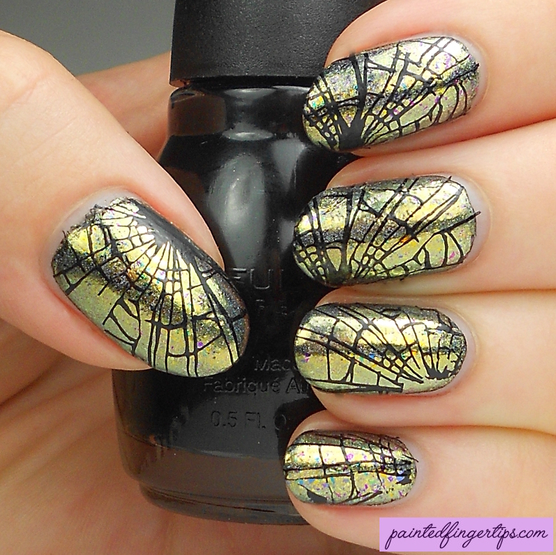 Shattered glass stamping nail art by Kerry_Fingertips