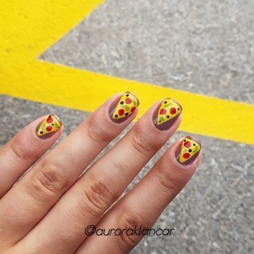 Pizza nail design nail art by Aurora Klančar