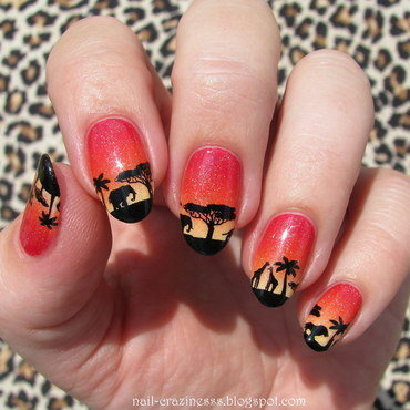 African sunset nail art by Nail Crazinesss