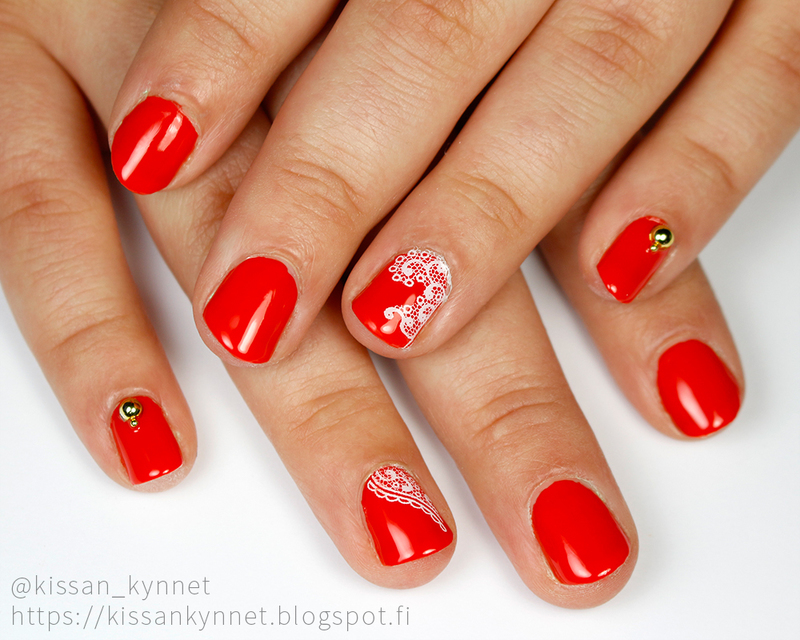 Red nails with lace and pearls nail art by Yue