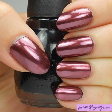 Copper chrome powder nail art by Kerry_Fingertips