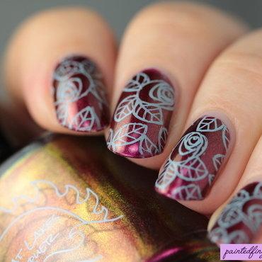 Angled rose nail stamping thumb370f