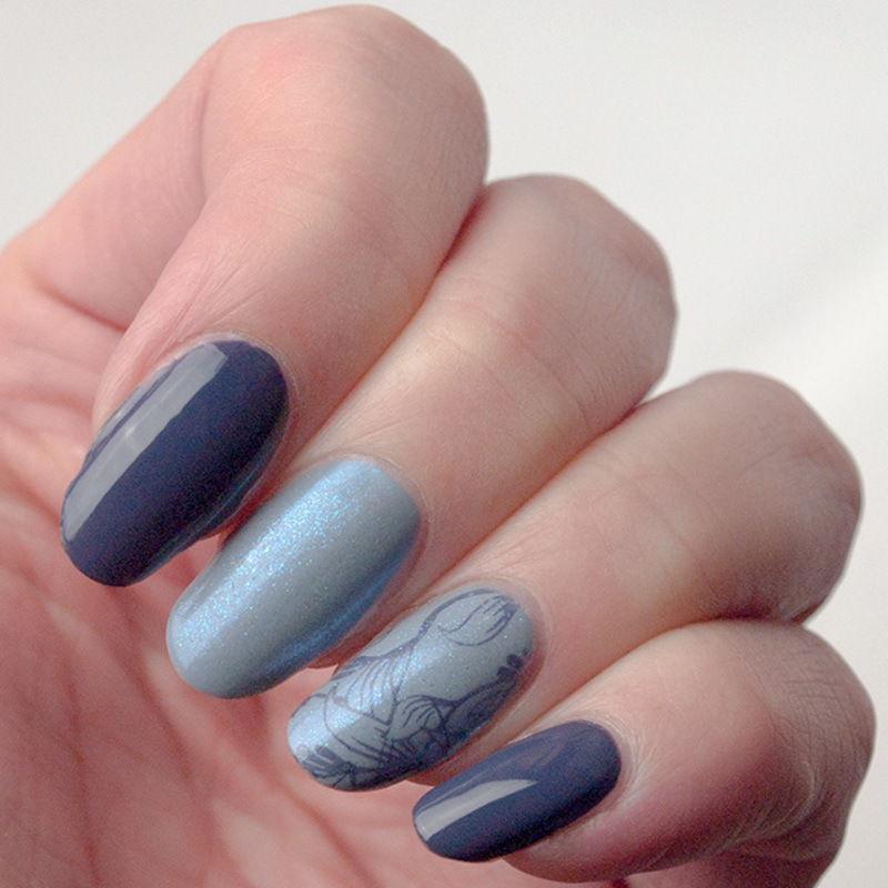Dusty denim nails nail art by What's on my nails today?