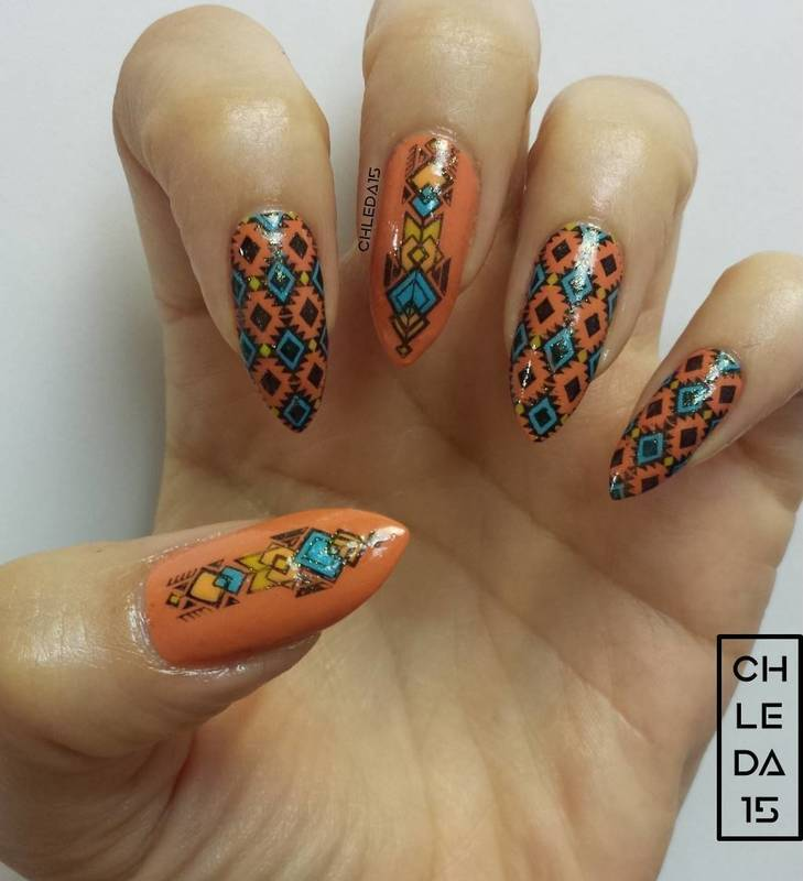 Western Nail Art: South-Western Summer Nail Art By Chleda15