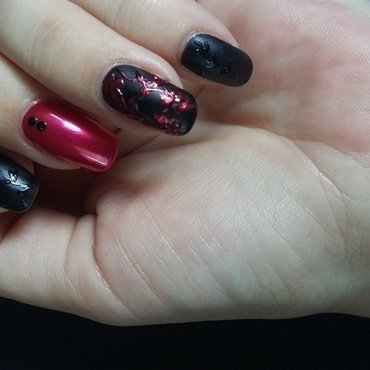 Matte & Glossy for funeral nail art by mariejane