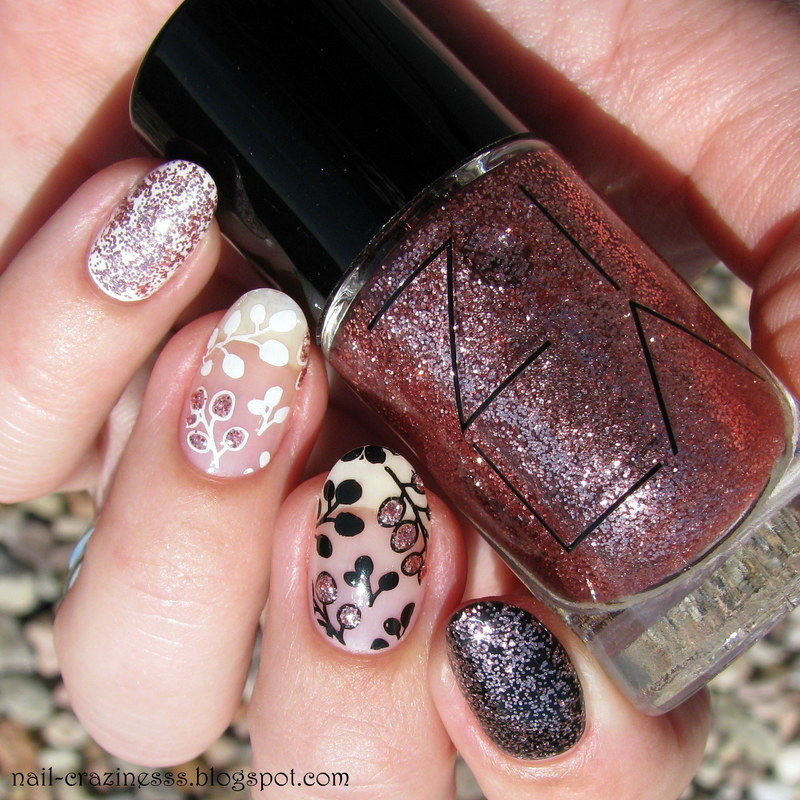 B&W with rose gold spark nail art by Nail Crazinesss