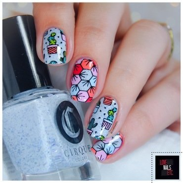 Dans la vie, il y a des cactus! nail art by Love Nails Etc
