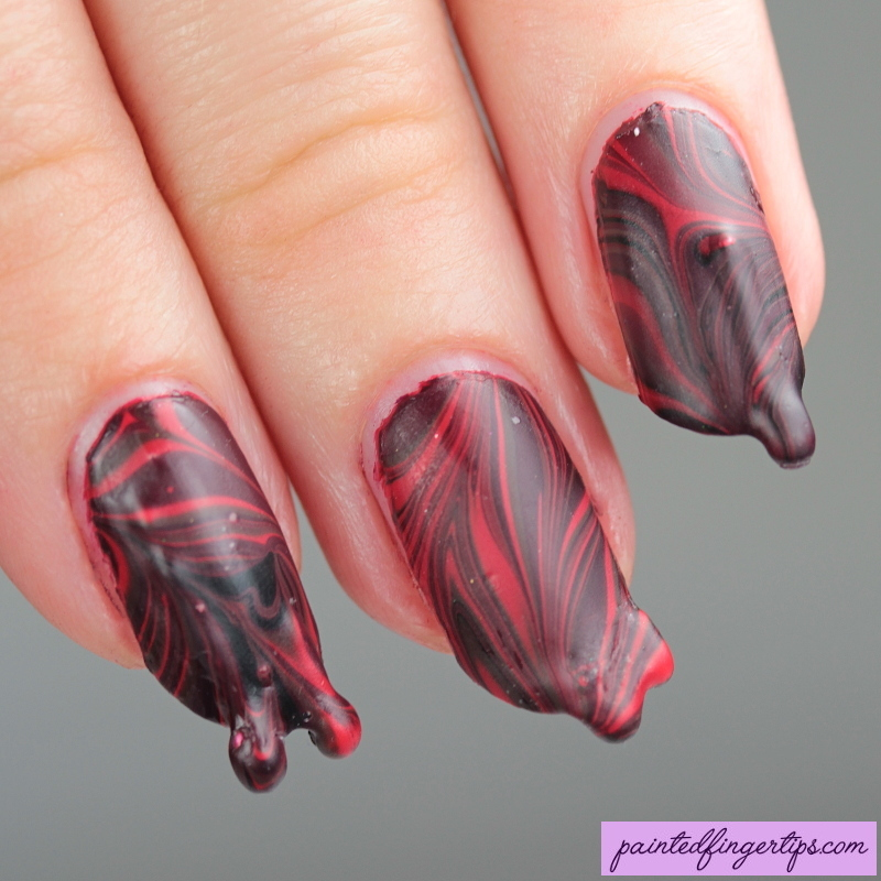 Blood drip water marble nail art by Kerry_Fingertips