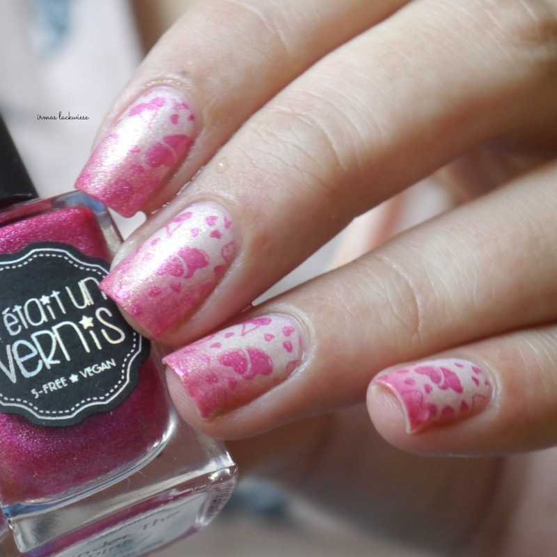 pink thermo stamping nail art by irma