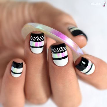 Easy black and white nail art nail art by melyne nailart