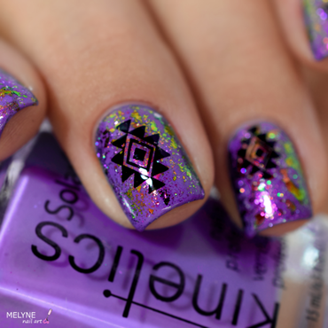 Aztec nail art with blossom and holo flakies nail art by melyne nailart