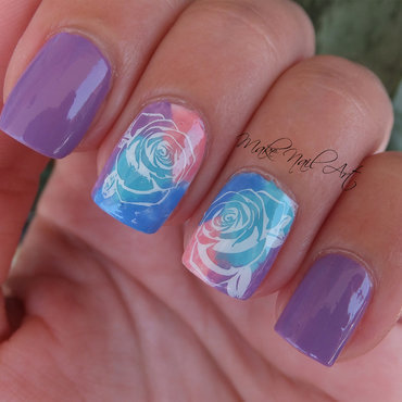 Watercolor Stamping Roses Nail Art Design nail art by Make Nail Art