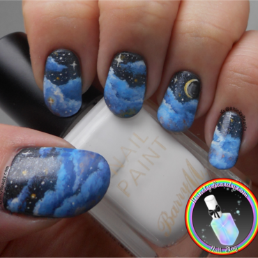 Freehand Starry Night's Sky nail art by Ithfifi Williams
