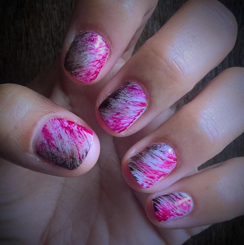 White, Black & Red #fanbrushfriday nail art by Avesur Europa