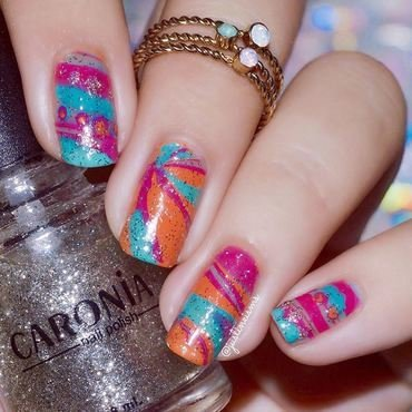 Candy Watermarble nail art by ℐustine