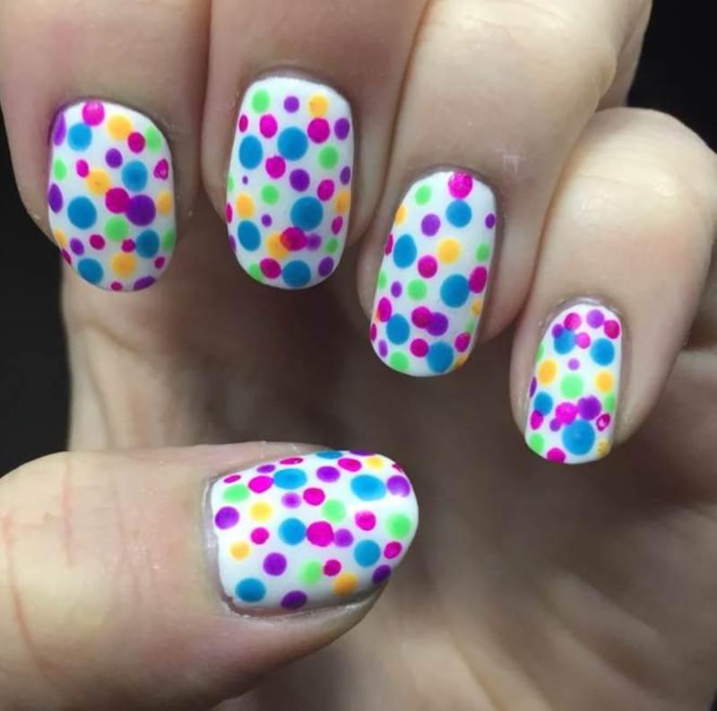 Neon dots nail art by Meggy