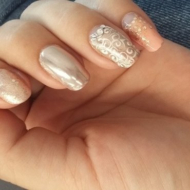 Light coral nails & soft silver mirror accents nail art by mariejane