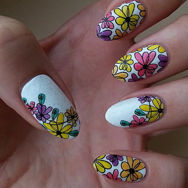 Summer Vacation Nail Project - Flowers nail art by Mgielka M