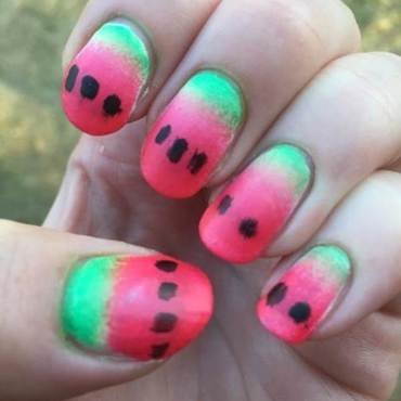 Watermelon nail art by Meggy