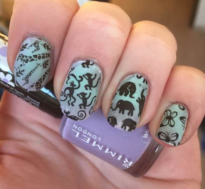Animal Silhouettes nail art by Meggy