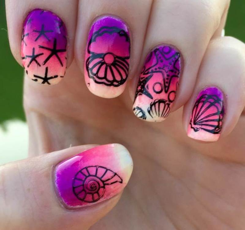 Tropical nail art by Meggy