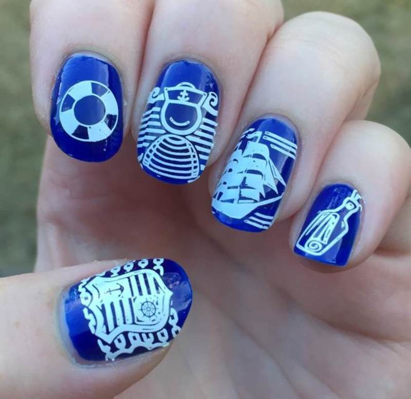 Nautical nail art by Meggy