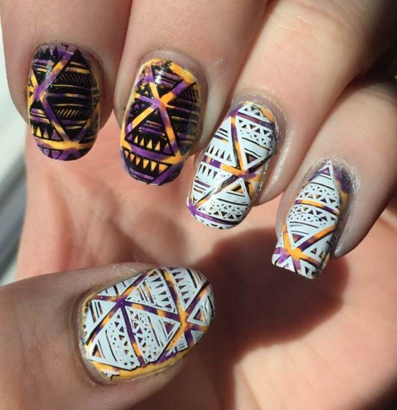 Aztec nail art by Meggy