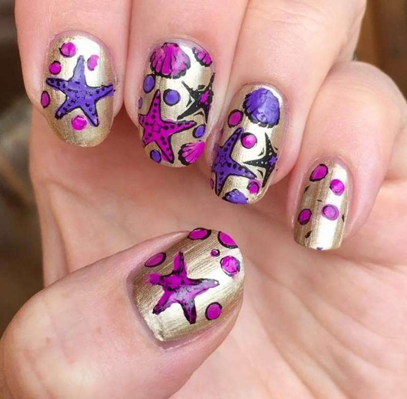 Starfish nail art by Meggy