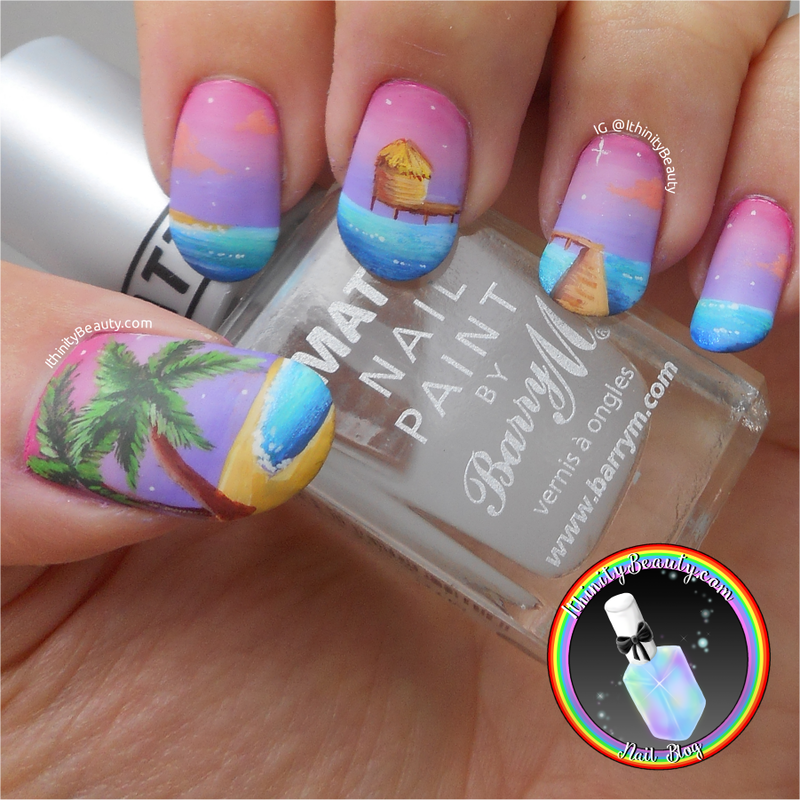 Freehand Sunset Beach Hut nail art by Ithfifi Williams