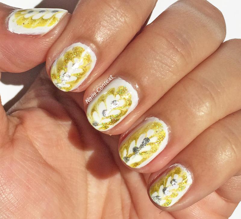 Yellow Drag Marble Nails  nail art by NailsContext