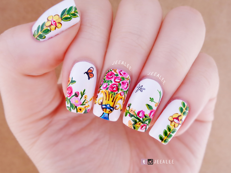 Floral Nails nail art by JeeA Lee