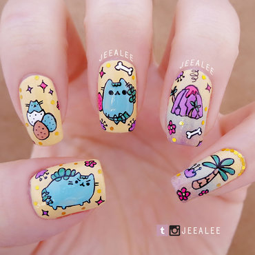Pusheen 20dinosaur 20nails 20  20post thumb370f