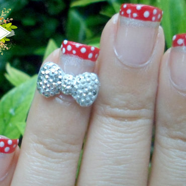 3D Bow Disney Minnie Nail Art nail art by madjennsy Nail Art
