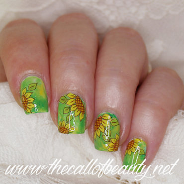 Sunflowers nail art by The Call of Beauty