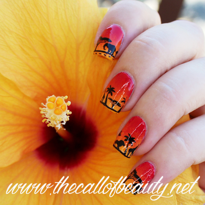 African Sunset nail art by The Call of Beauty