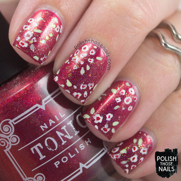 Red holo glitter floral pattern nail art 4 thumb370f