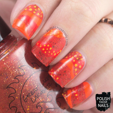 Bright orange flakie wav polka dot nail art 4 thumb370f