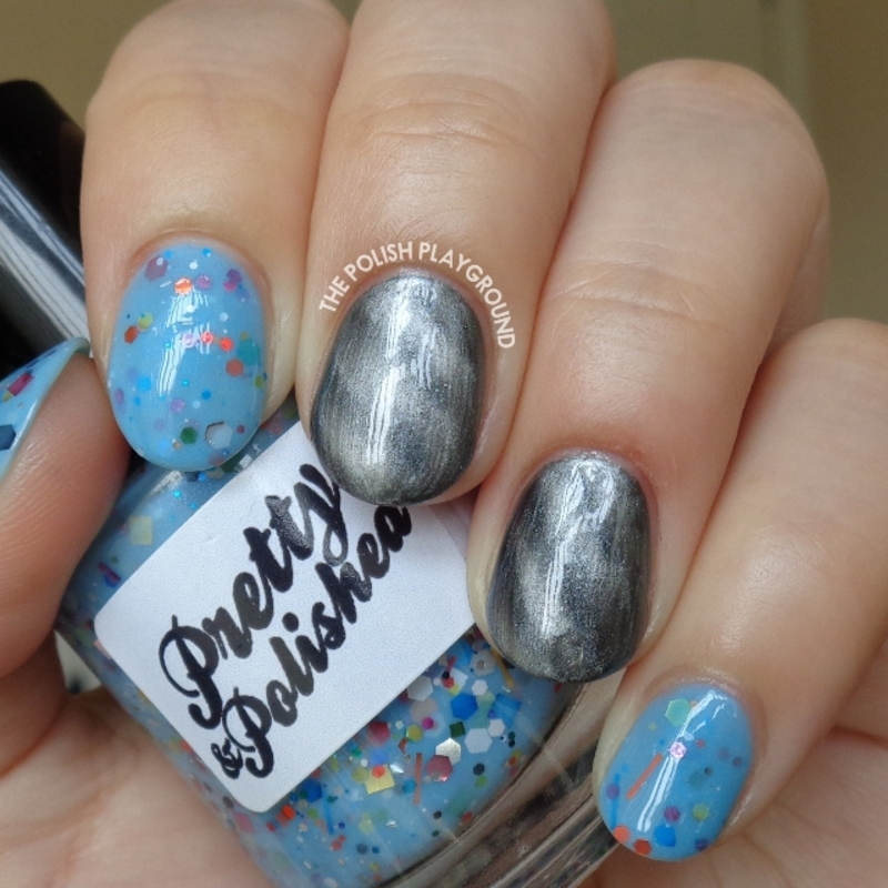 Blue Crelly with Grey Magnetic Polish nail art by Lisa N
