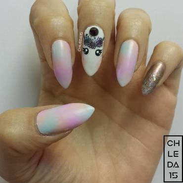Unicorn Cotton Candy nail art by chleda15