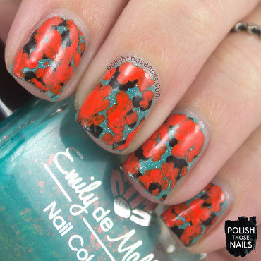 Orange abstract teal glitter pattern nail art 4 thumb370f
