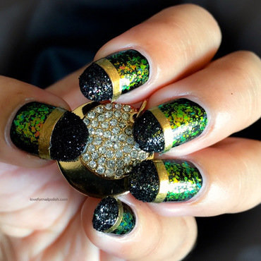 Black Glitter Tips Design nail art by Demi