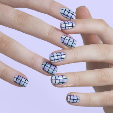 Pastel Grid nail art by nagelfuchs