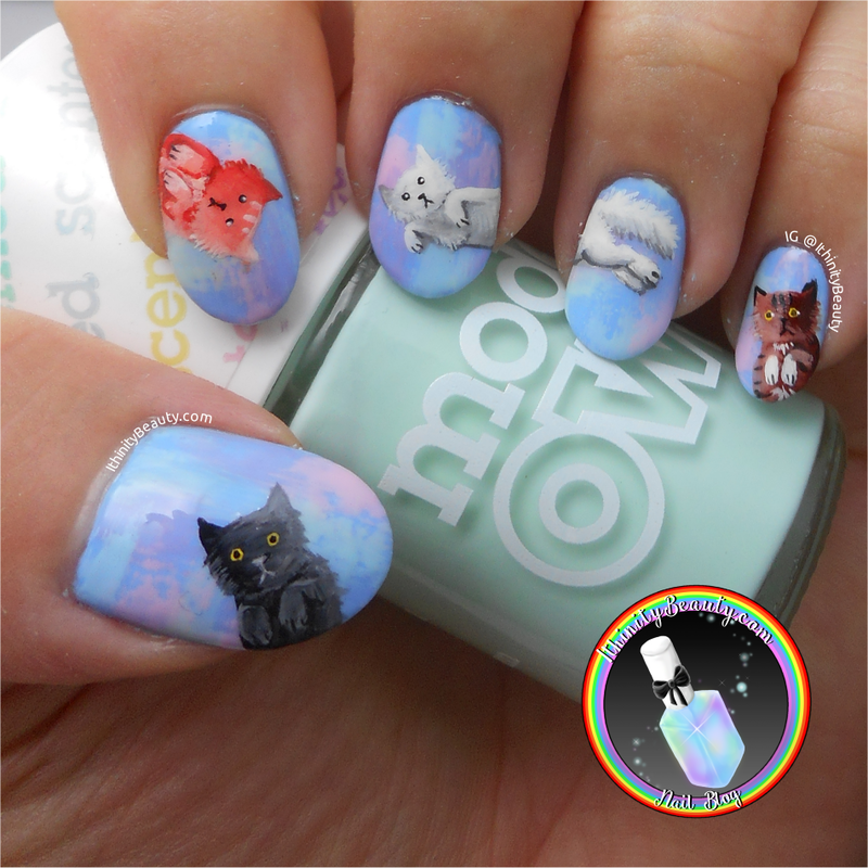 Freehand Kitty Cats!  nail art by Ithfifi Williams
