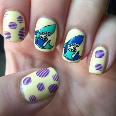 Sharks nail art by Meggy