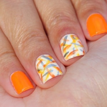 Neon all the Oranges nail art by Monica