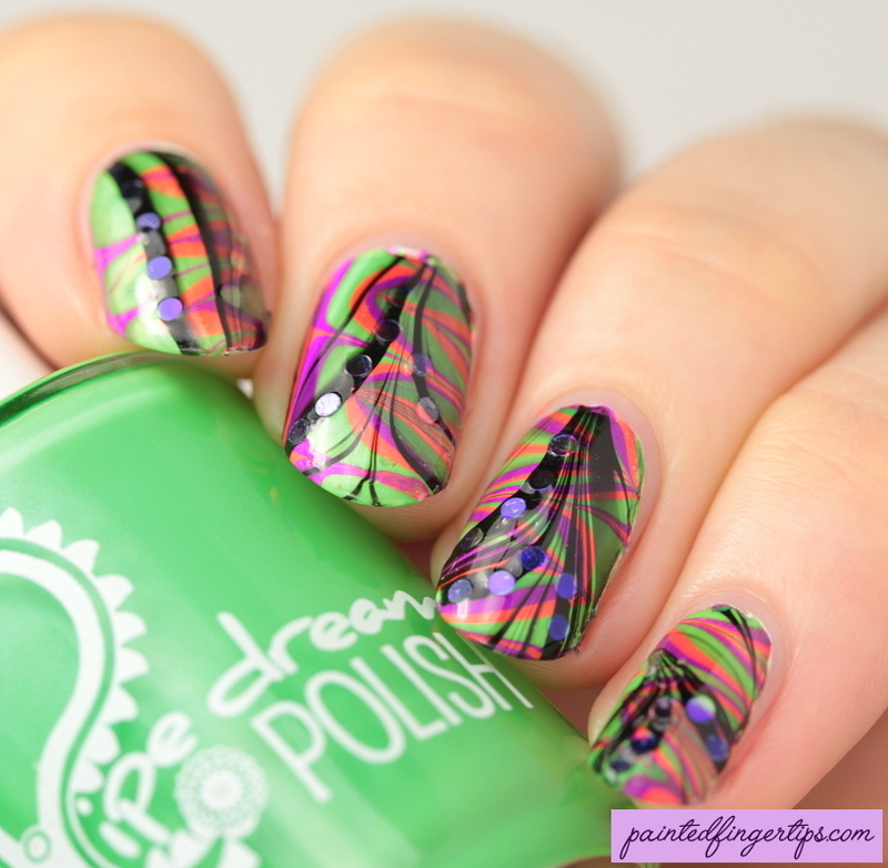 Layered water marble nail art by Kerry_Fingertips